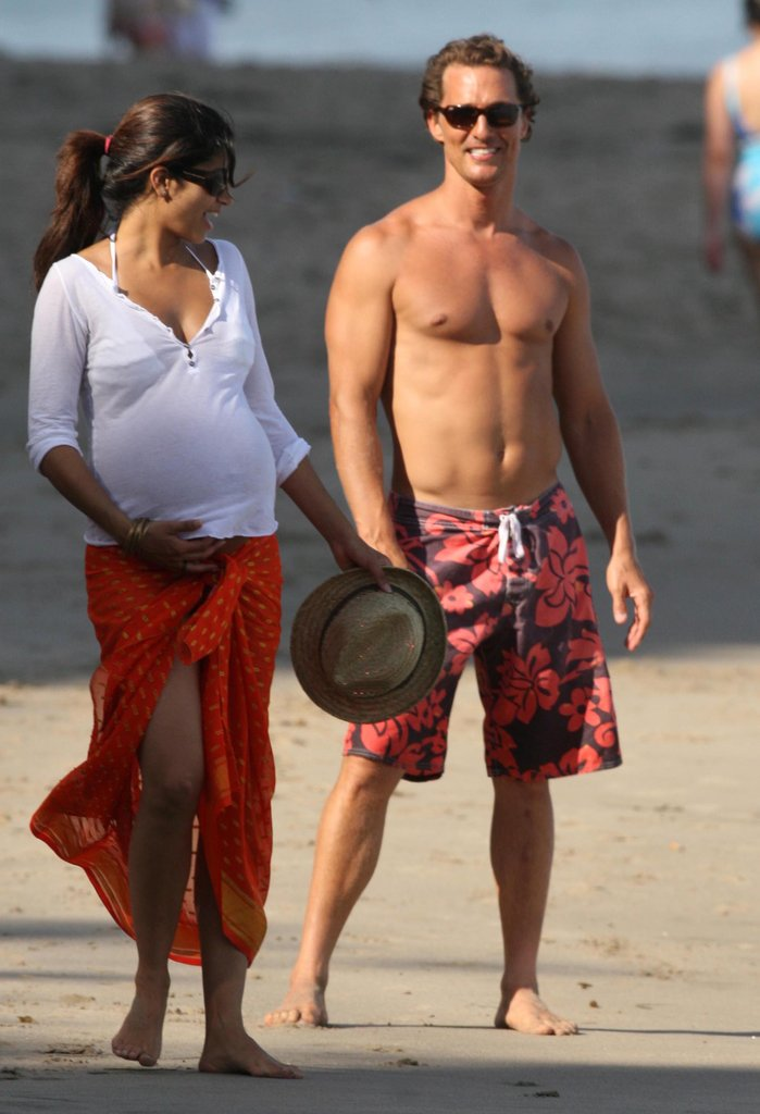 Camila Alves was pregnant with Levi when she hit the Malibu sand with Matthew McConaughey in June 2008.