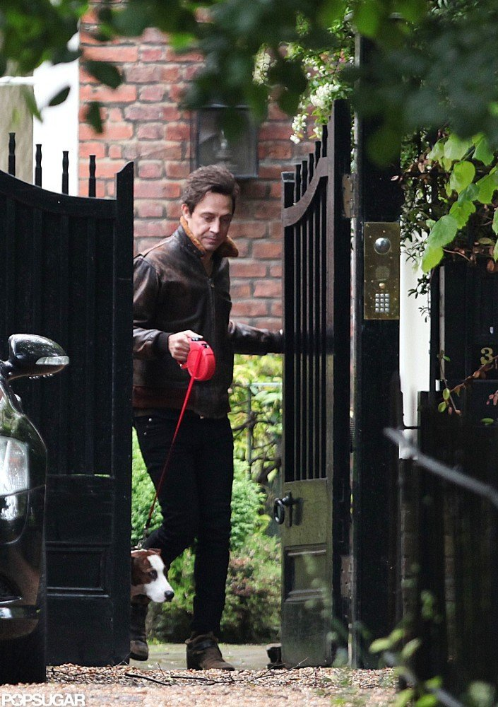 Jamie Hince with his and Kate Moss's dog Archie.
