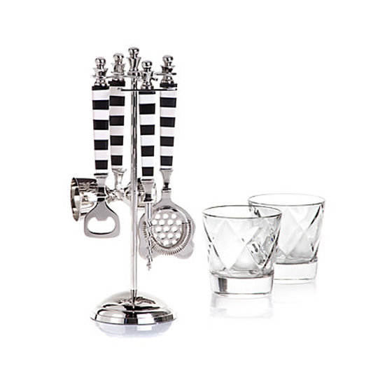 A Cabana Bar Set ($45) with its black-and-white details would make a great gift for the man who loves to shake up a serious cocktail when entertaining.