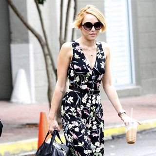Miley Cyrus Floral Wide-Leg Jumpsuit Pictures