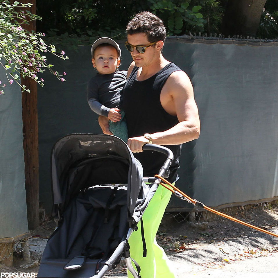 Orlando Bloom out for a walk with Flynn on Father's Day.