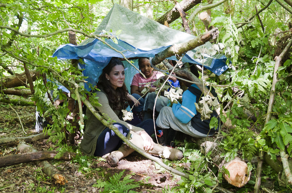 Kate Middleton pitched a tent with children from Expanding Horizons' primary school outdoor camp.