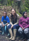 Kate Middleton hung out with children from Expanding Horizons primary school outdoor camp in the woods.