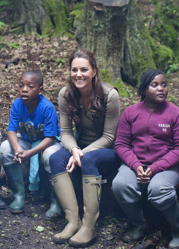 Kate Middleton hung out with children from Expanding Horizons' primary school outdoor camp in the woods.