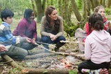 Kate Middleton roasted food by a campfire with children from Expanding Horizons' primary school outdoor camp.