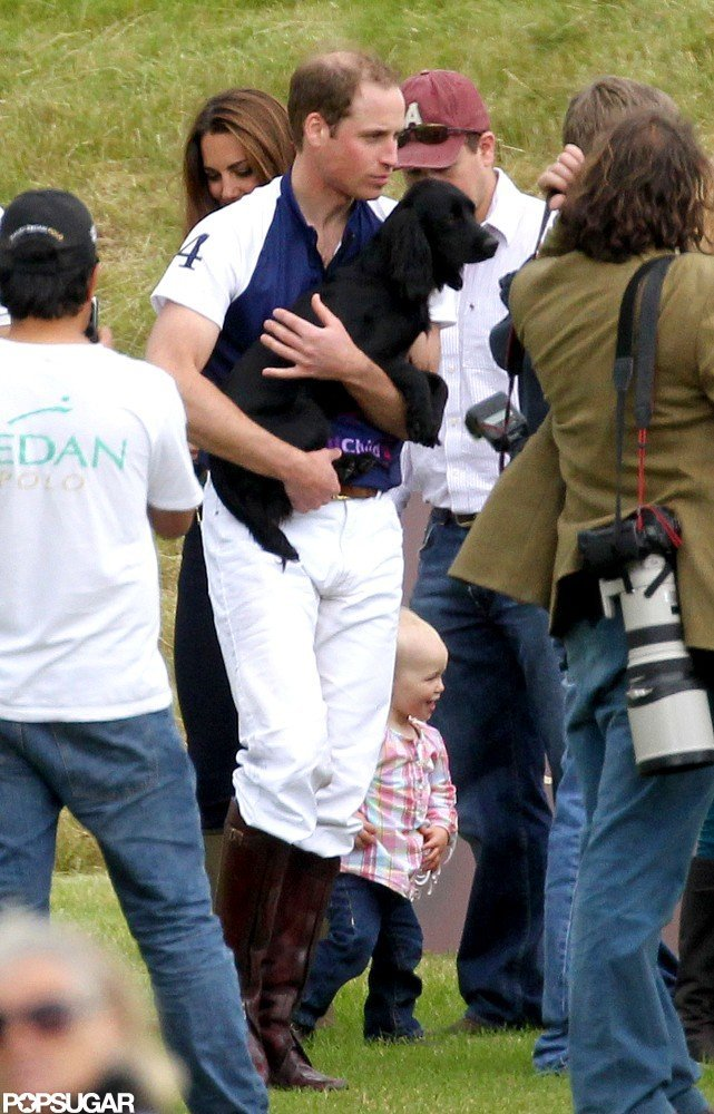 Prince William carried Lupo at a charity polo match.