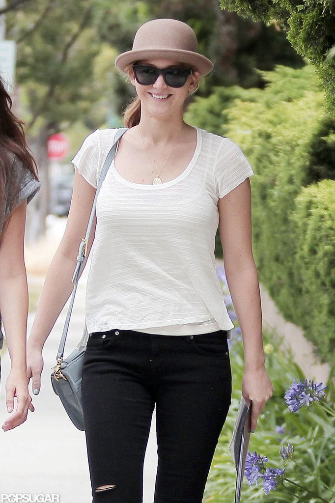 Jennifer Lawrence met up with a friend in Santa Monica.