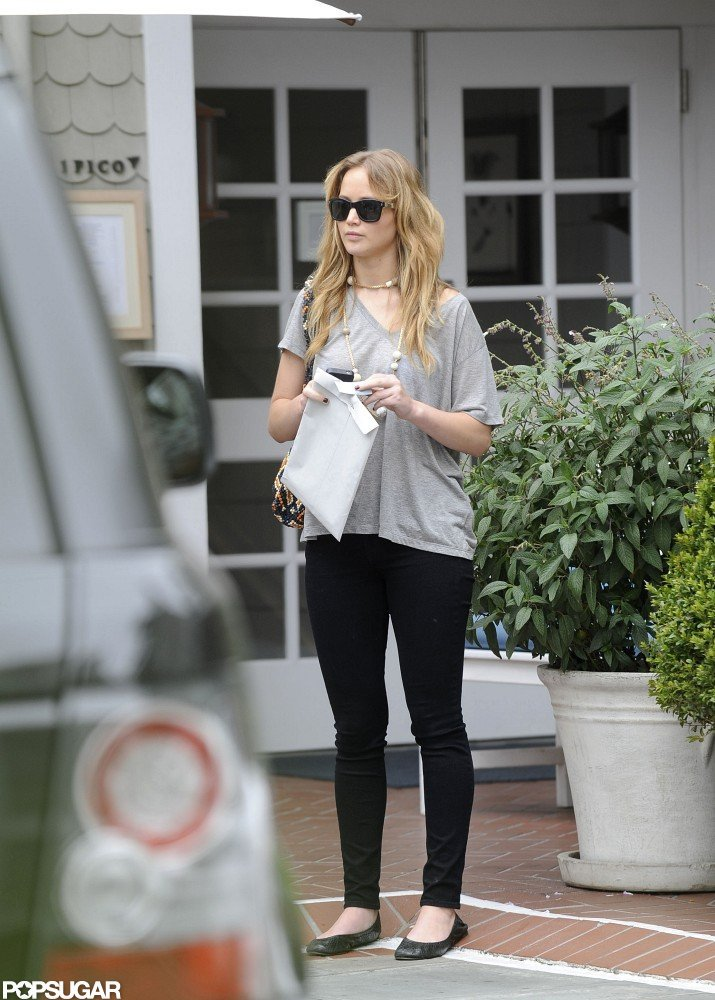 Jennifer Lawrence wore black shades as she stood in front of Shutters on the Beach in LA.