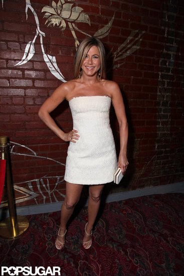 Jennifer Aniston Pops Up at the Rock of Ages Afterparty in a Sexy White Dress