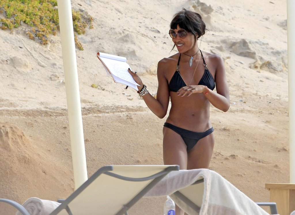 Naomi Campbell wore a bikini while in Ibiza.