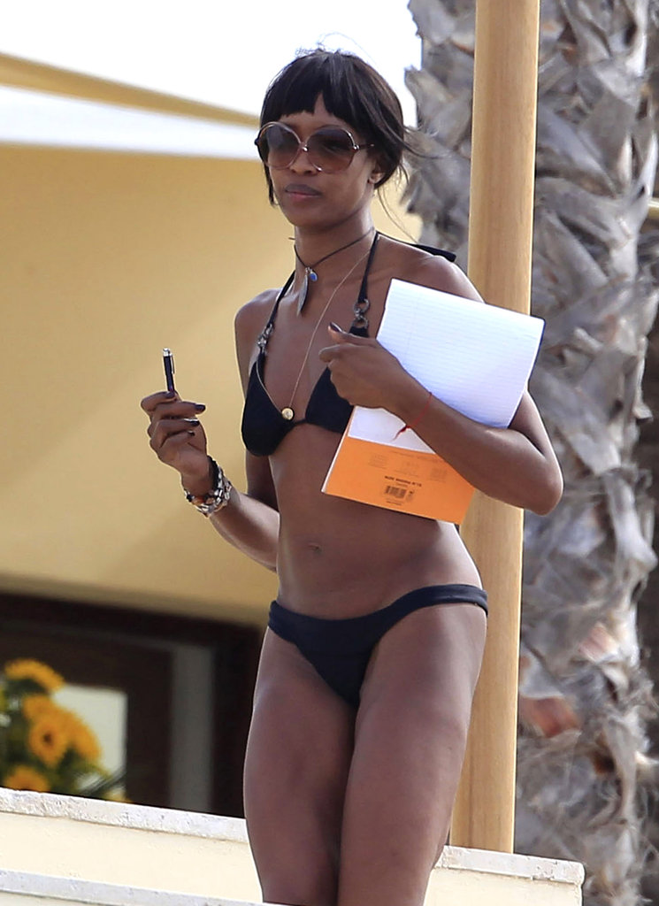Naomi Campbell wore sunglasses and a black bikini in Ibiza.