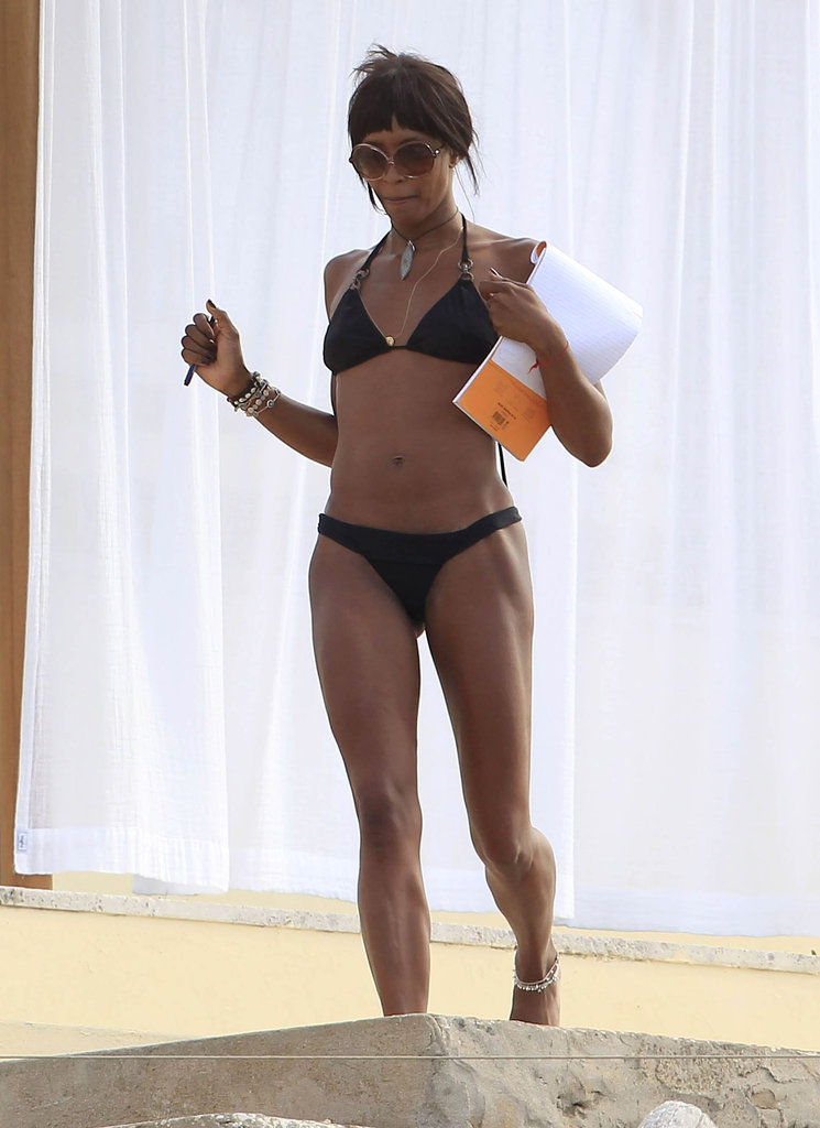 Naomi Campbell wore a black bikini in Ibiza.