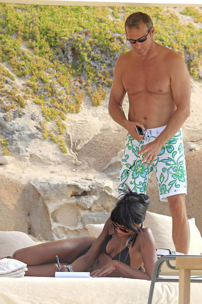 Naomi Campbell was with friends on the beach in Ibiza.