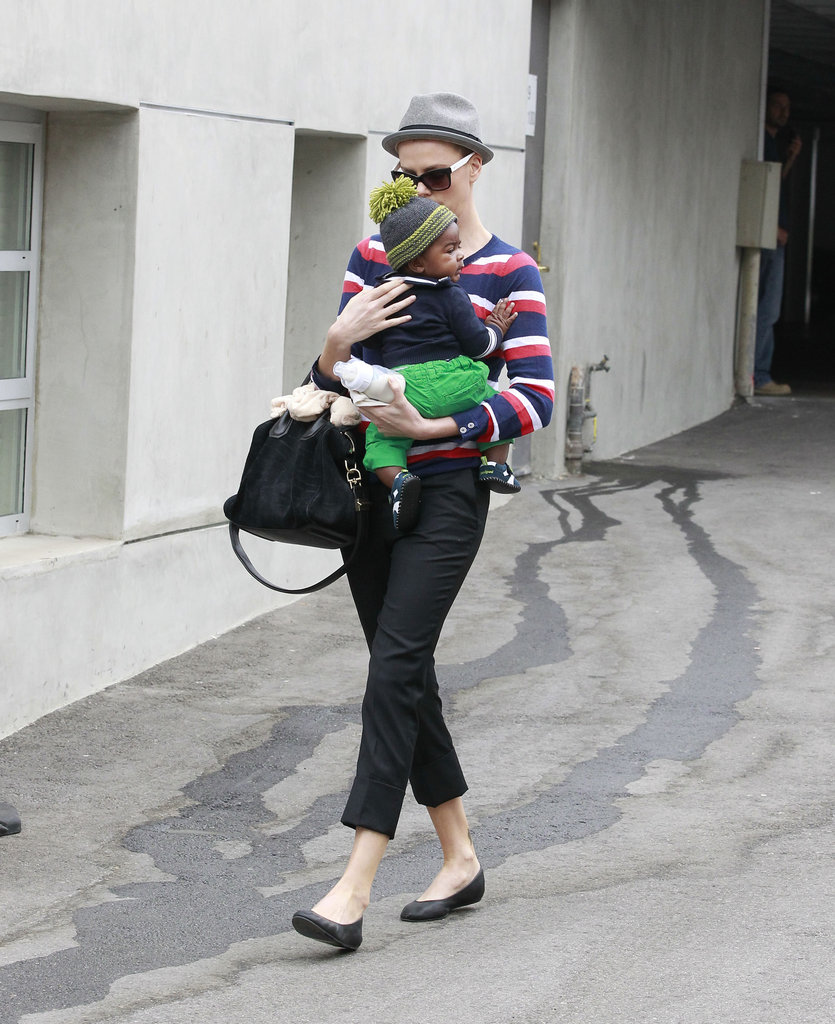 Charlize Theron carried Jackson out of a parking structure in Beverly Hills.