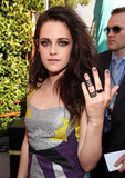 Kristen Stewart sported chic, stacked Repossi rings to lend to her usual badass vibe at the MTV Movie Awards.