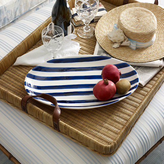 The loose brushstrokes on this striped platter ($175) make this spread carefree yet classic.