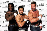 Jeff Timmons of 98 Degrees flashed his tattoos and bulging muscles with Chippendales dancers in 2011.