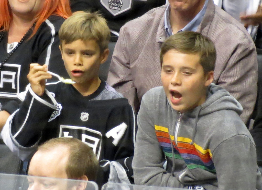 Romeo Beckham and Brooklyn Beckham cheered together at the LA Kings Stanley Cup final game in LA.