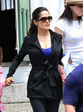Salma Hayek wore a black ensemble on the set of Grown Ups 2 in Massachusetts.