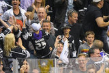 David Beckham celebrated with Romeo, Cruz, and Brooklyn at the LA Kings Stanley Cup final game in LA.
