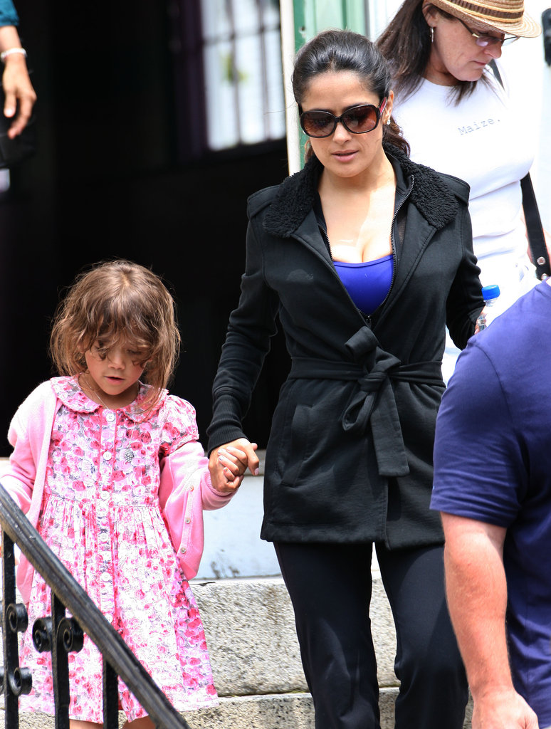 Salma Hayek and daughter Valentina were hand in hand on the set of Grown Ups 2 in Massachusetts.