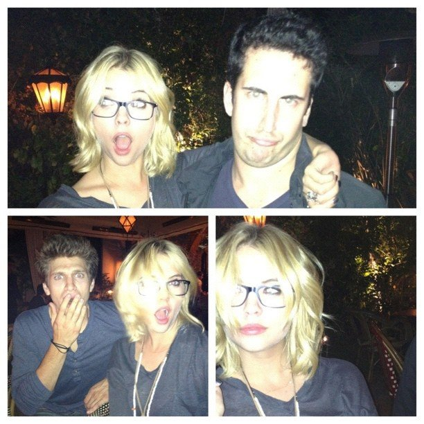 Ashley Benson joked around with glasses. Source: Instagram user itsashbenzo
