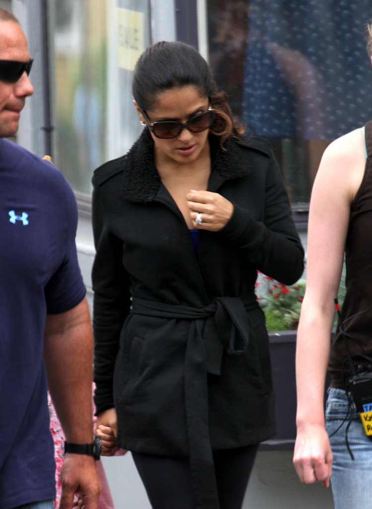 Salma Hayek wore sunglasses on the set of Grown Ups 2 in Massachusetts.