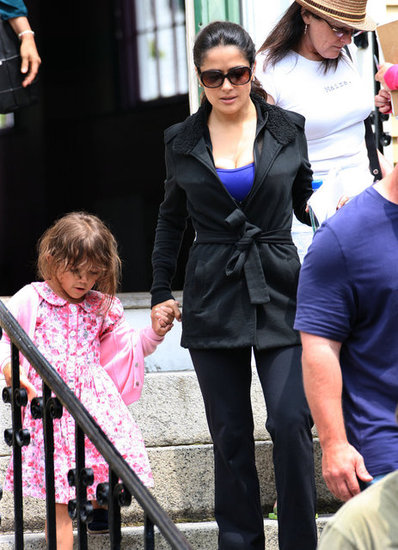 Salma Hayek was happy to have her daughter, Valentina, visit her on the set of Grown Ups 2 in Massachusetts.