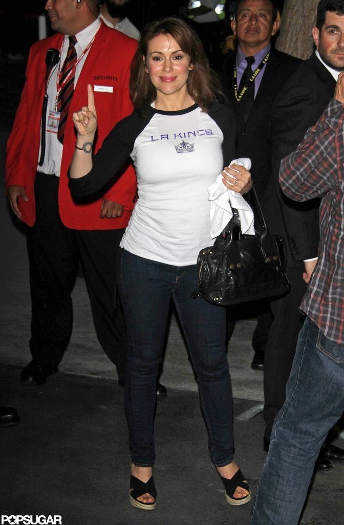 Alyssa Milano showed off her LA Kings pride entering the Stanley Cup final game.