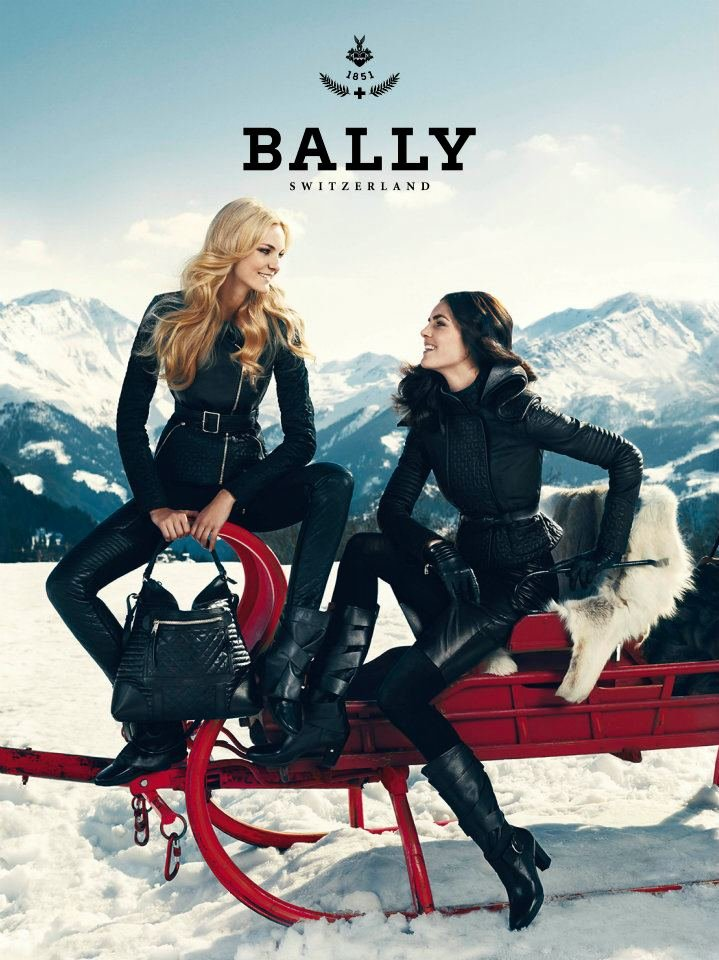 Caroline Trentini and Hilary Rhoda hit the slopes in Bally's Fall 2012 ads.