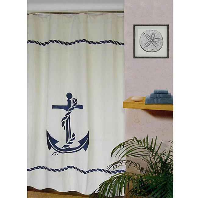 This Nautical Shower Curtain ($38) is made from a linen blend and features fun rope detailing along the top and bottom edges.