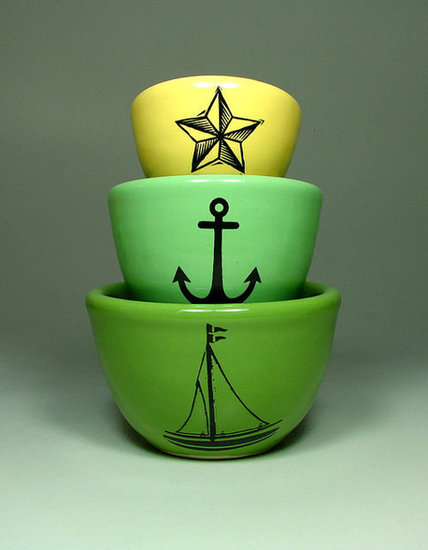 Create some color pops with a nautical theme with this Urban Set For the Seaworthy ($65) dishware.