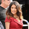 Salma Hayek in Sexy Red Skirt on Grown Ups 2 Set Pictures
