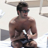 Joshua Bowman was shirtless by the pool.