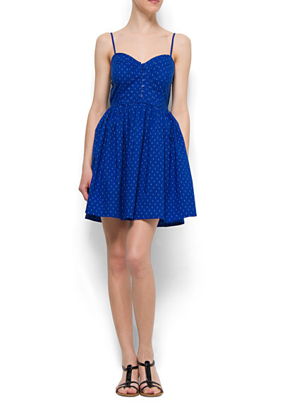 This bold cobalt mini would be a sweet statement-maker at your next Summer BBQ.  Mango Flared Dress ($50)