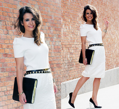 White on white with the chicest black accents makes this a look that could double from work to play.  Photo courtesy of Lookbook.nu
