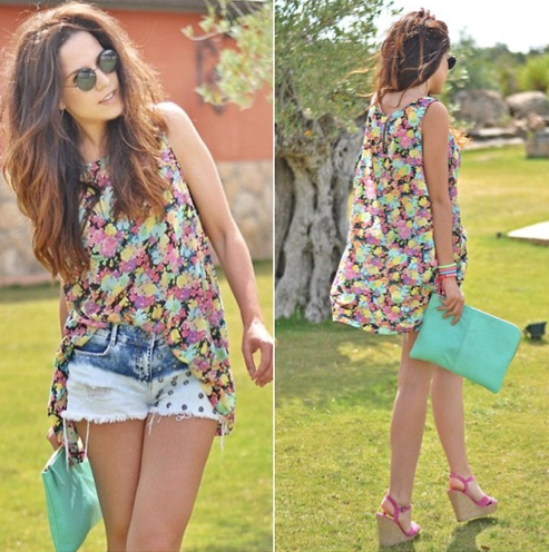 Put a girlie spin on denim cutoffs with a pretty topper; then add in high-impact hues on your shoes and bag.  Photo courtesy of Lookbook.nu