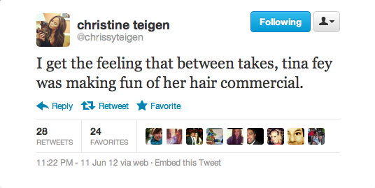Tina Fey's hair commercial seems off to Chrissy.