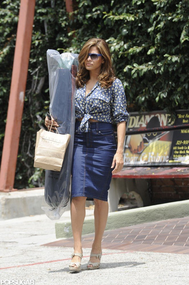 Eva Mendes went shopping at a foam and fabric store in LA.