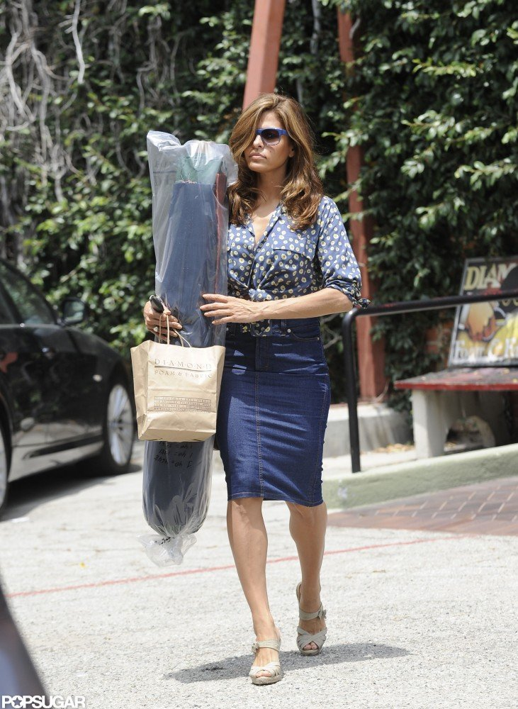 Eva Mendes went shopping in LA.