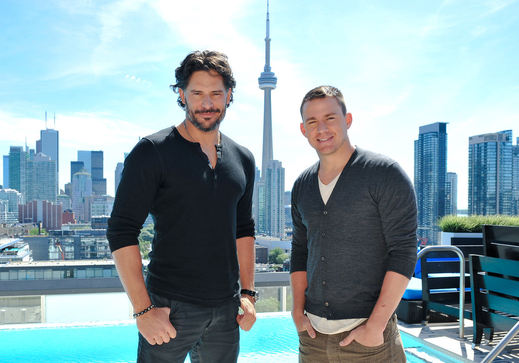 Joe Manganiello and Channing Tatum posed at the Thompson Hotel in Toronto during a Magic Mike press junket.