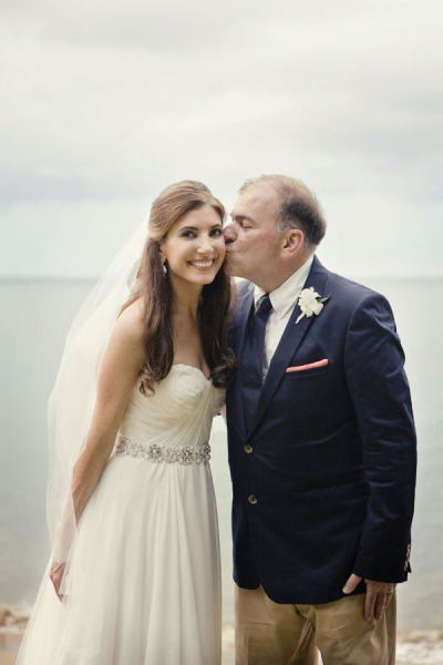 This bride's dad gave her a smooch on the cheek at the wedding. Photo by Studio 1208 via Style Me Pretty