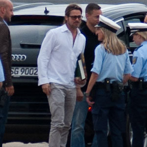 Brad Pitt at the Airport in Germany Pictures