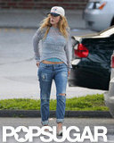 Blake Lively showed off her stomach under a sweater during a grocery shopping trip with Ryan Reynolds in New York.