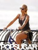 Erin Heatherton rode her bike.