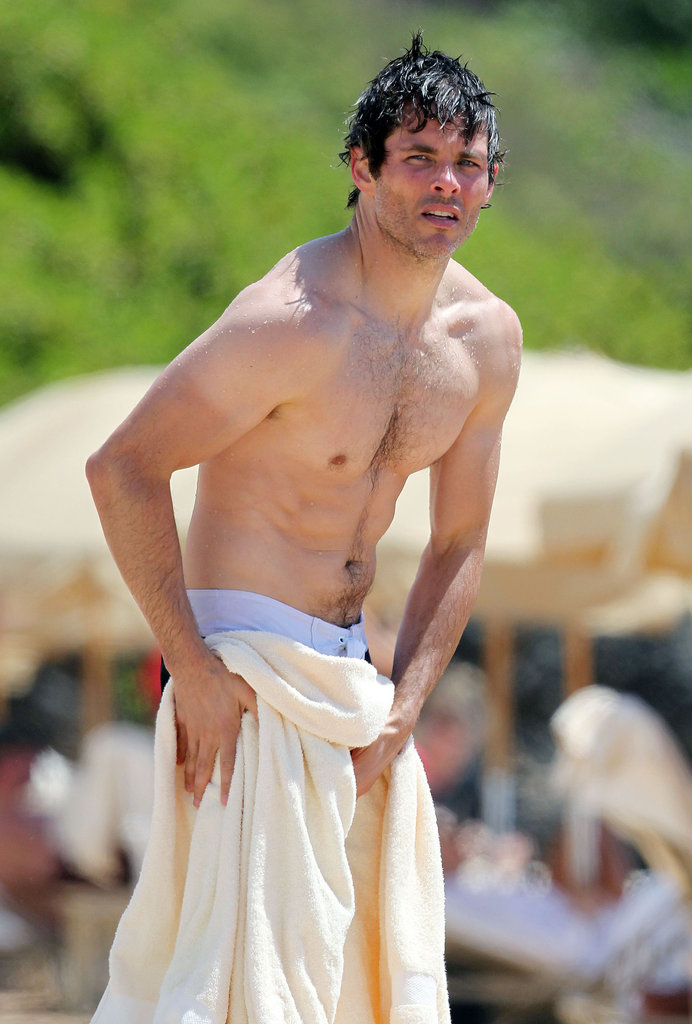 James Marsden toweled off after taking a swim in the ocean in Hawaii.