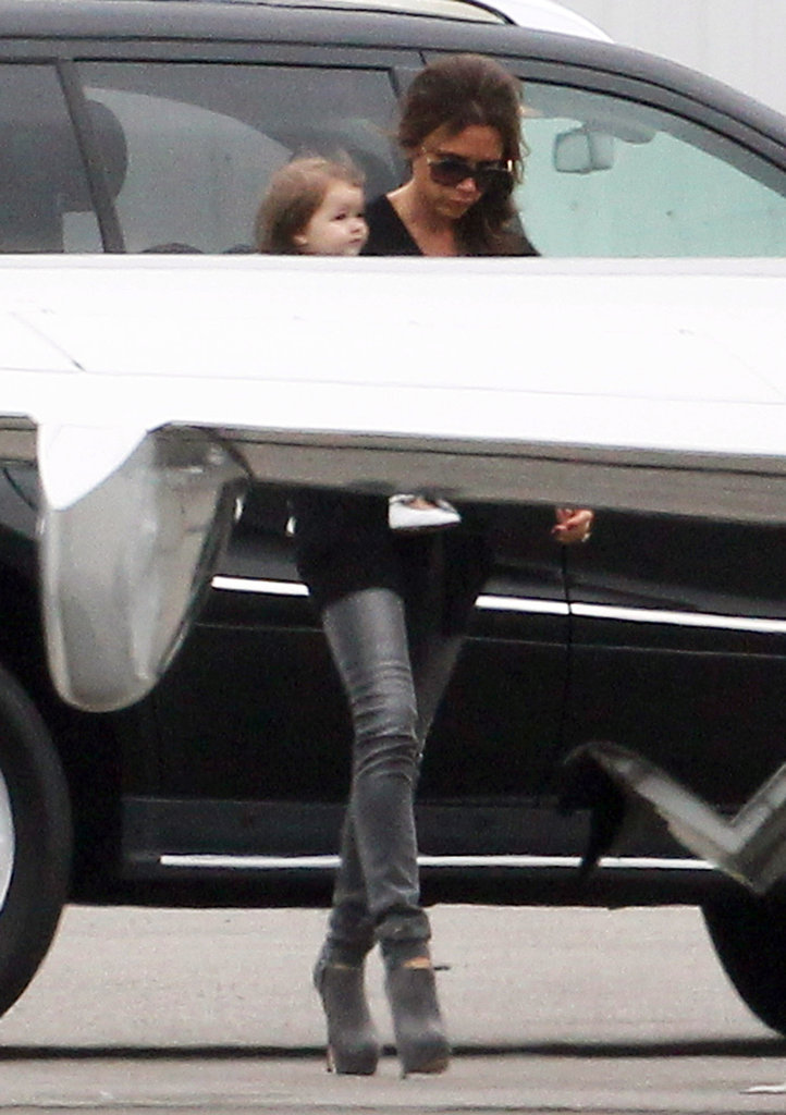 Victoria Beckham and Harper Beckham headed for a private plane.