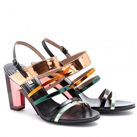 This is a luxe, color-injected way to channel the trend on a pair of sandals that'll lend a little statement power to just about anything — though we especially love the idea of pairing these with slouchy trousers.  Dries Van Noten Mirrored Metallic Heels ($920)