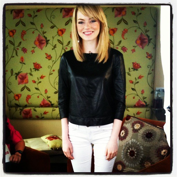 We snapped a photo of Emma Stone looking superchic while promoting The Amazing Spider-Man.