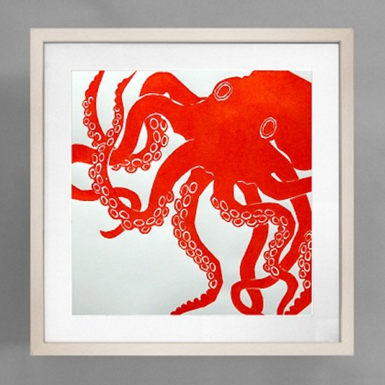This Dermond Peterson Octopus Print ($250) is hand-blocked, and we think the persimmon shade would look perfect in a coastal kitchen.